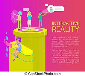 Interactive Reality Cartoon Banner Vector Set