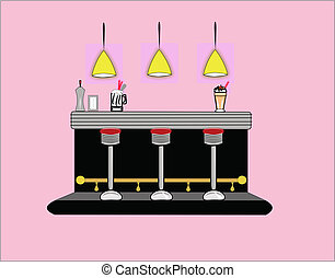 diner interior with accessories and shake and float on counter top