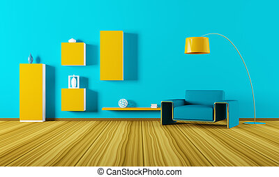 Interior of living room with armchair and shelves 3d render