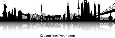 International City Skyline Silhouette vector artwork
