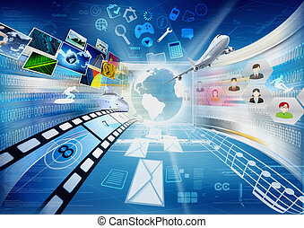 Conceptual image about how a computers with internet open a worldwide information and multimedia sharing.