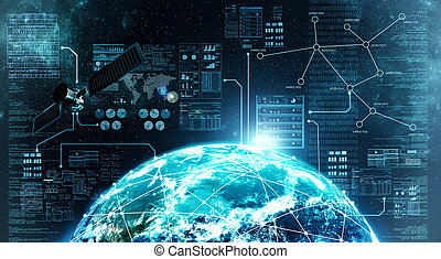 Concept of internet connection via satellite communication in outer space