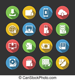 Internet download symbols collection for computer and mobile electronic devices flat icons set in circles isolated vector illustration