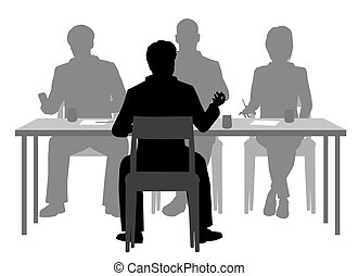 Editable vector silhouettes of a man being interviewed by a panel of three people