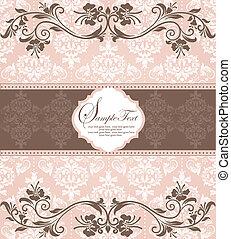pink vintage damask invitation card