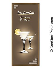 Invitation cards with a cocktail