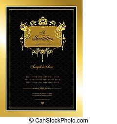 Invitation gold card. Wedding or Valentine`s Day. Vector illustration