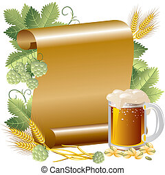 Vector Image beer in the background of the gold paper and hop