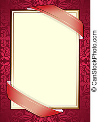 invitation with ribbons on red background