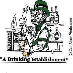 Irish bartender pouring beer in front of bar, with back bar showing ,