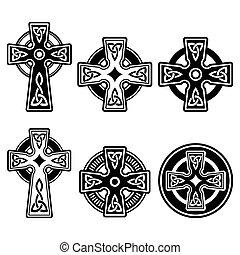 Celtic crosses white pattern set isolated on white