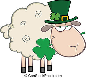 Irish Sheep Carrying A Clover In Its Mouth Illustration Isolated on white