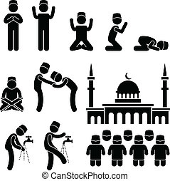 A set of people pictogram representing the people of Muslim praying and practicing their tradition and culture.
