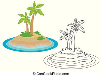 Island cartoon. Coloring book. Leisure activity for children.