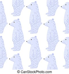 Isolated animal seamless pattern with doodle blue polar bear cute cartoon silhouettes. White background.