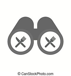 Isolated binoculars with a knife and a fork