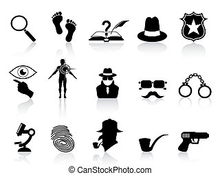 black detective icons set