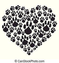 black heart paw background