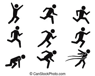 isolated black runner stick figure icons set from white background