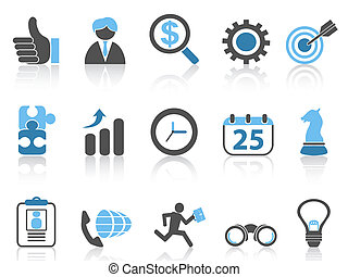 isolated business icons set, blue series from white background