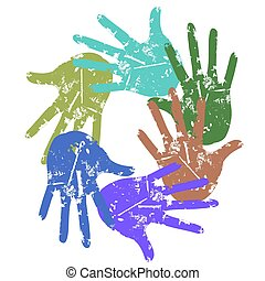 color grunge hand around