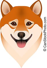 Isolated colorful head and face of happy shiba inu on white background. Color flat cartoon breed dog portrait.