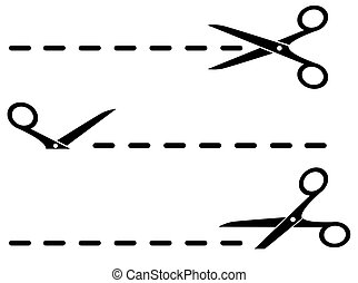 isolated cut lines with black scissors set on white background