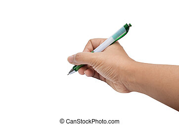 Isolated female hand write, drawing wiht pen