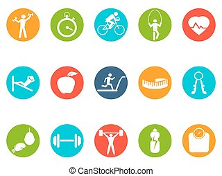 fitness round buttons icons set