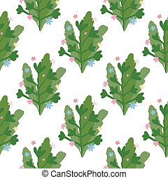 Isolated floral seamless pattern with foliage and branch silhouettes on white background. Green botanic ornament.