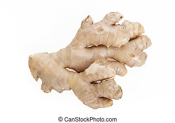 Fresh ginger root isolated on a white background.