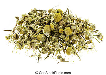 isolated heap of dry chamomile herb with flowers