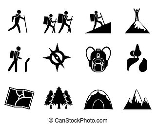 isolated hiking icons from white background
