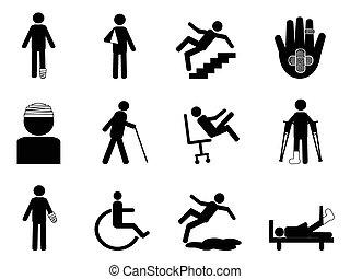 isolated Injury icons set from white background