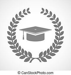 Isolated laurel wreath icon with a graduation cap
