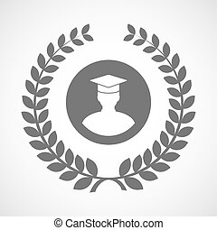 Isolated laurel wreath icon with a student