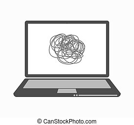 Isolated line art laptop with a doodle