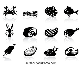 isolated meat icons set on white background