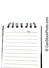 Blank notepad page isolated