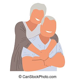 Isolated old couple hugging