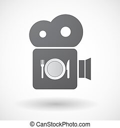 Isolated retro cinema camera icon with a dish, knife and a fork icon
