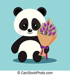 Isolated romantic sweet cute baby panda bear in sitting pose with bouquet.