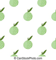 Isolated seamless fruit pattern with green pastel apple silhouettes. White background. Healthy food print.