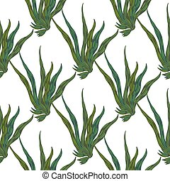 Isolated seamless ocean pattern with seaweed silhouettes. Green colored underwater foliage on white background.