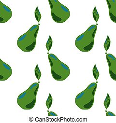 Isolated seamless pattern with abstract green pear silhouettes in hand drawn style.