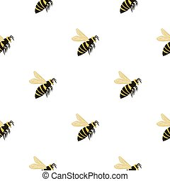 Isolated seamless pattern with bee stylized silhouettes. Yellow and black colored wasp on white background.