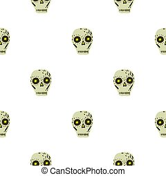 Isolated seamless pattern with mexican skull decor ornament. Beige skeleton shapes on white backgound.