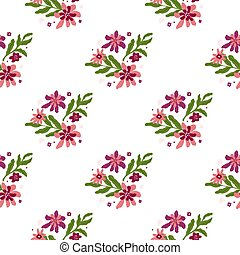 Isolated seamless pattern with pink flowers and green leaves print. White background. Botanic print.