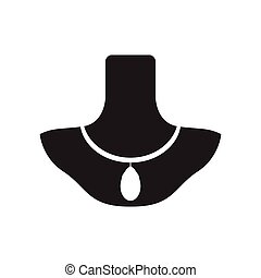 Isolated silhouette of a necklace