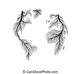 Isolated tree root world map earth shape concept